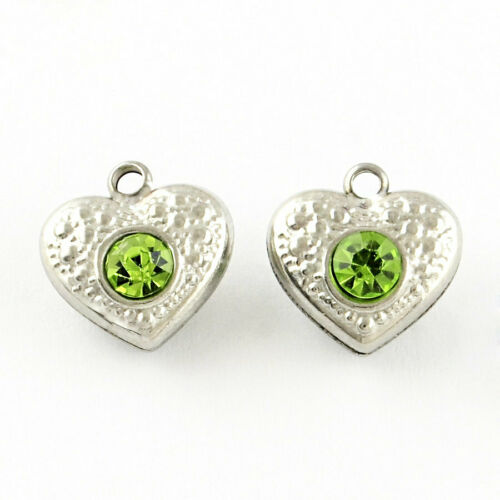 MT388 5 Stainless Steel Heart Charms with Rhinestones Two Sided Irish Green