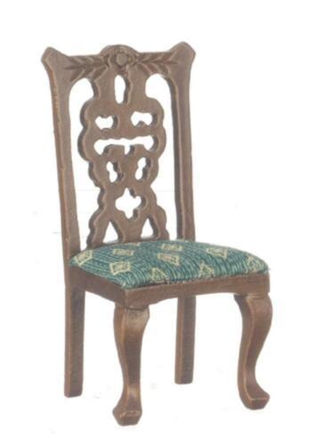 Casa De Muñecas Victoriano nogal y verde silla lateral Muebles Miniatura Comedor