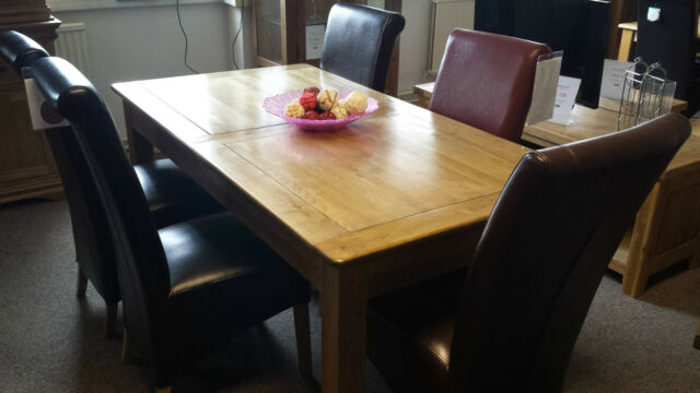 Elgin Solid Oak Extending Dining Table And Six Black Leather Chairs 130 175cm