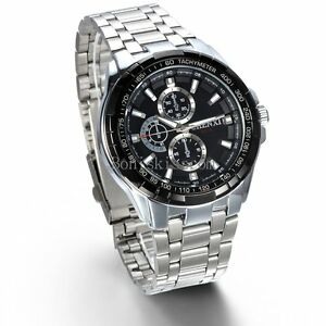Stainless-Steel-Band-Classic-Quartz-Round-Analog-Men-039-s-Casual-Wrist-Watch