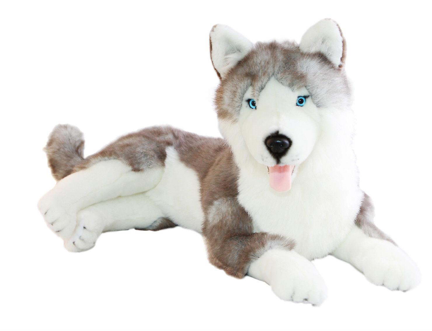 BNWT - Bocchetta Siberian Husky Dog Lying  Rocco  Plush Toy 62cm 24inch