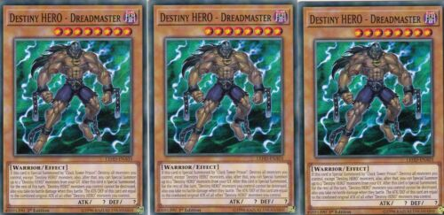DREADMASTER YUGIOH 3 X DESTINY HERO LEHD-ENA03  LEGENDARY HERO DECKS 1ST ED
