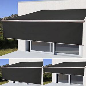 elektrische markise h124 4 5x3m ausfahrbarer volant polyester anthrazit ebay. Black Bedroom Furniture Sets. Home Design Ideas