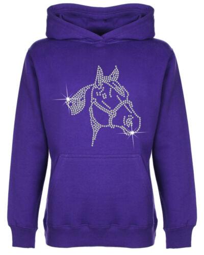 Faccia di Cavallo con Strass Impreziosito per Bambini Felpa con cappuccio Sweat Shirt Unisex Taglia