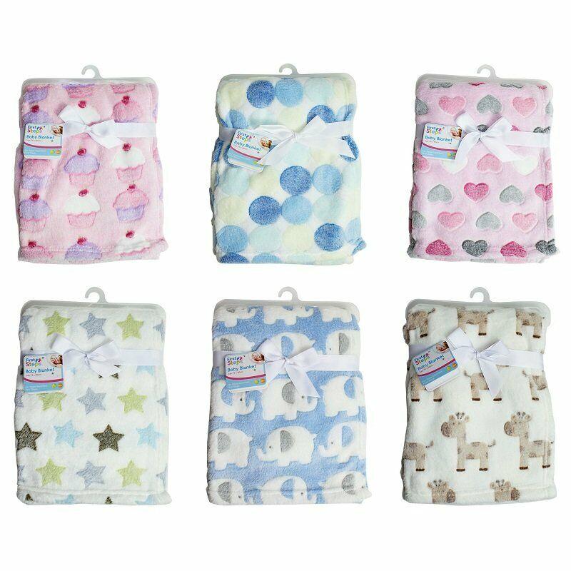 75 x 100 cm First Steps Coral Fleece Baby Blanket 6 Assorted Design