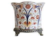 Beautiful Chinoiserie Floral Porcelain Planter Orchid Pot Antiqued Brass Accents