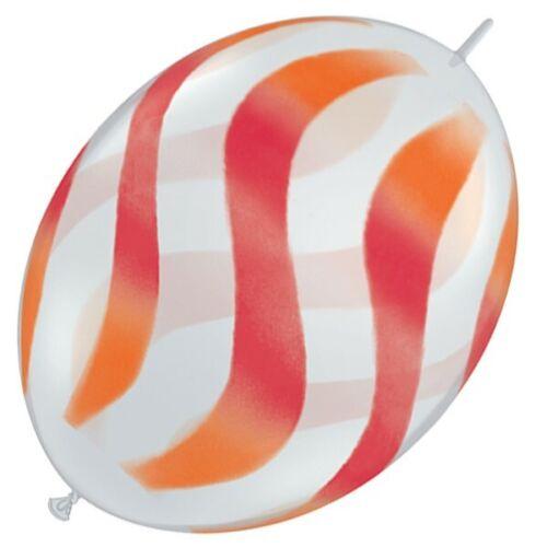 "SALE 12/"" Qualatex Wavy Stripes Orange /& Red on Diamond Clear Quick Link x 5"
