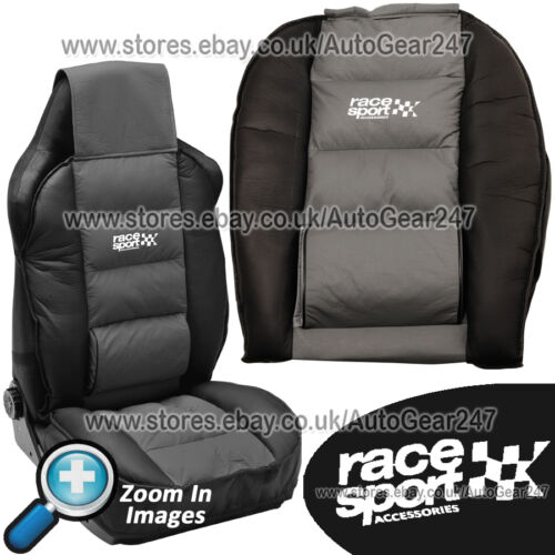 Race Sport Black Grey Padded Luxury Lumber /& Side Support Front Car Seat Cushion
