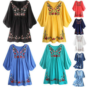 9f9eb0cf6005d Details about Women 70s Vintage Ethnic Mexican Embroidered Pessant Hippie  Boho Chic Mini Dress