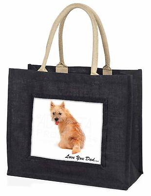 Cairn Terrier Hund' liebe Dich Papa' große schwarze Einkaufstasche Christmas P,