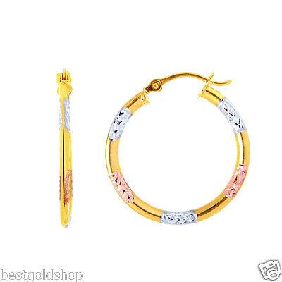 "Diamond Cut Tri Color Fancy Hoop Earrings 14K Yellow White Rose Pink Gold 3/4"""