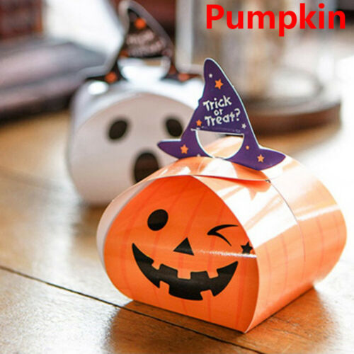 New Halloween Pumpkin Ghost Candy Box Paperboard Gift Bag Party Supplies
