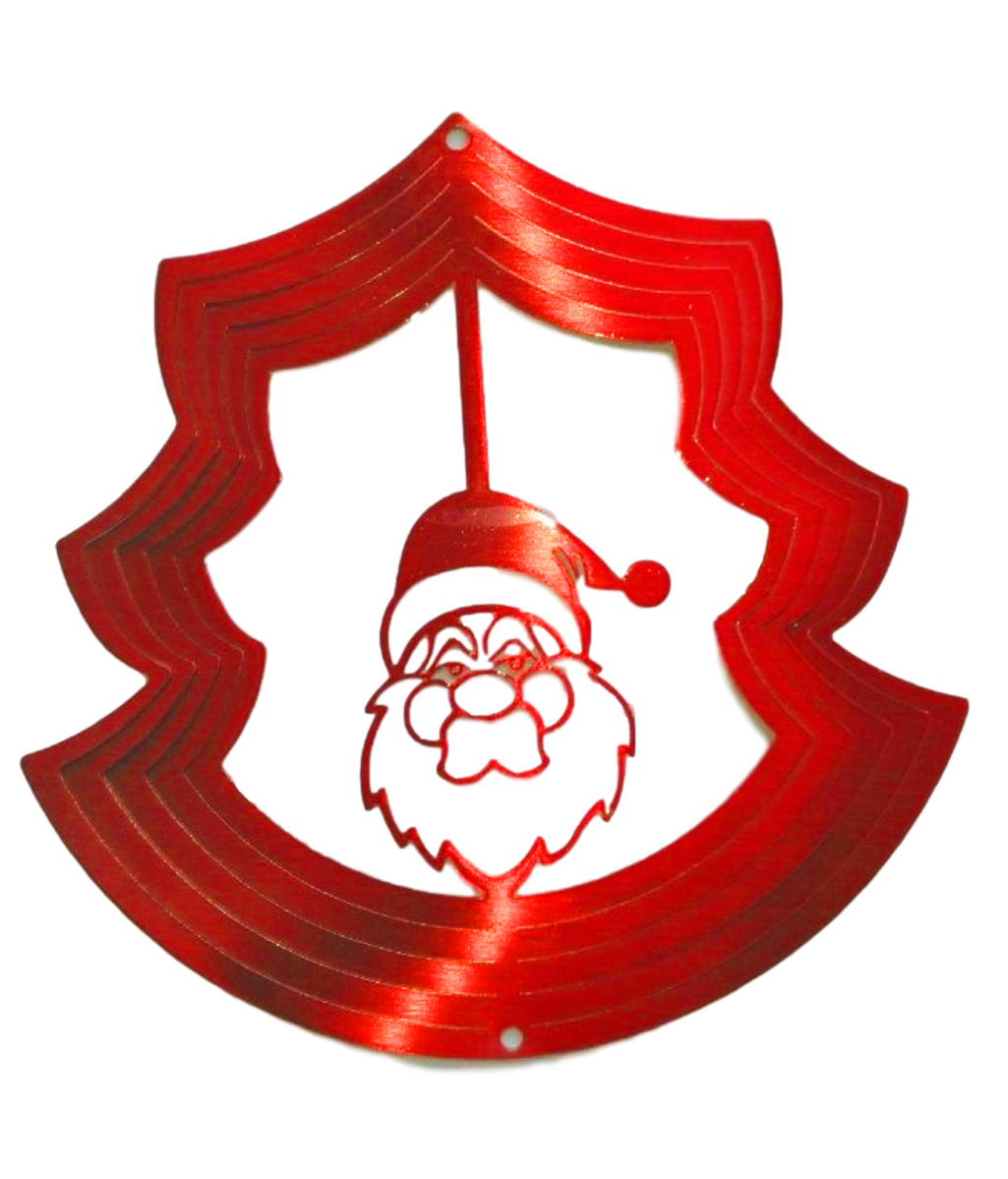 Christmas Santa Red Wind Spinner, Metal Yard Art and Outdoor Décor, 12
