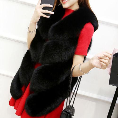 Women/'s Short Slim Vest Gilet Outwear Winter Faux Fox Fur Waistcoat Jacket Coats