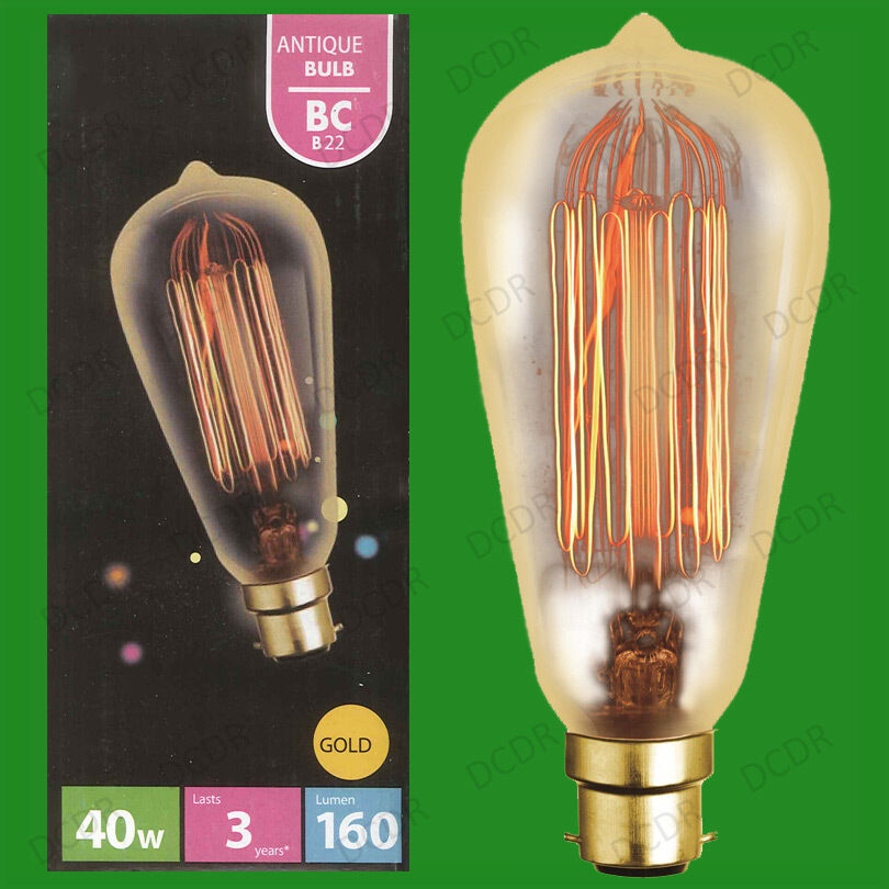 8x 40W Gold Antique Vintage Style Squirrel Cage Dimmable Light Bulb BC B22 Lamp
