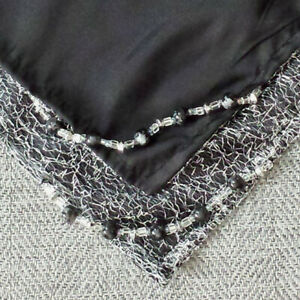 Altar-Cloth-29-Inch-Silver-Sparkle-Netting-amp-Black-Satin-w-Glass-Beads-AC512