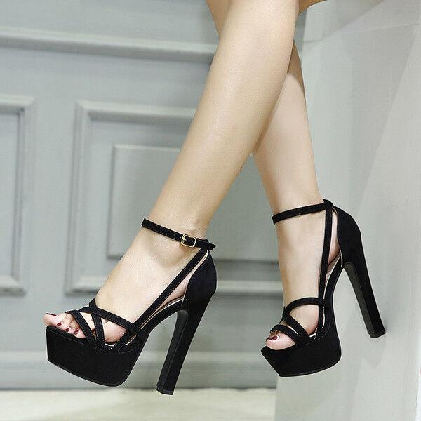 Sandalei stivali eleganti tacco plateau  14 14 14 cm nero simil pelle eleganti 9924 4f5b23