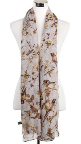 New Women/'s Ladies Girls Garden Birds On Branches Print Beautiful Gift Scarf