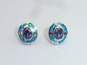 Damen-Art-Deco-Sterling-Silber-Fein-Opal-amp-Tanzanite-Ziel-Design-Ohrringe