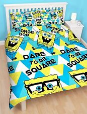 SPONGEBOB Squarepants Felice Doppio Piumone Quilt Copri Bambini Set di biancheria da letto reversibile
