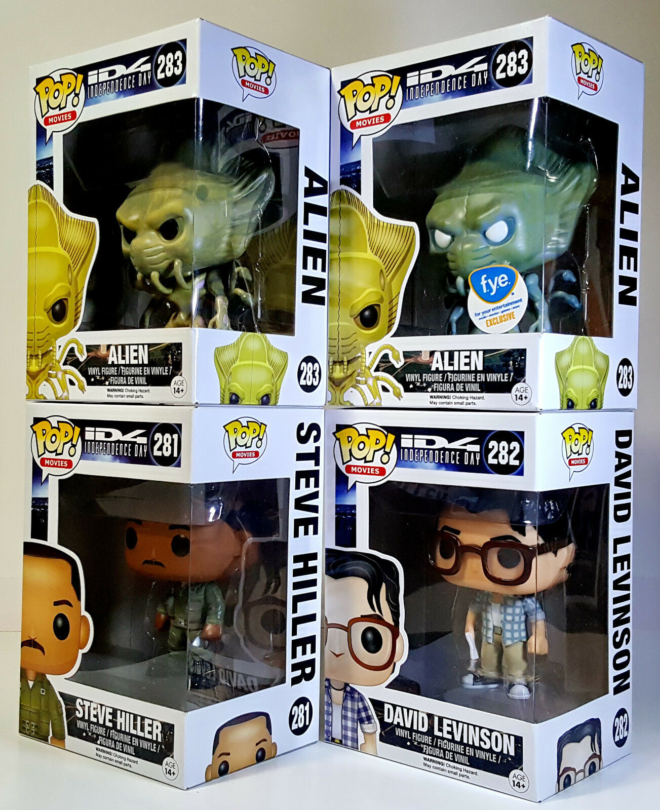 FUNKO POP Independence Day Complete Set of 4 w  Exclusive Alien Pop Movies ID4
