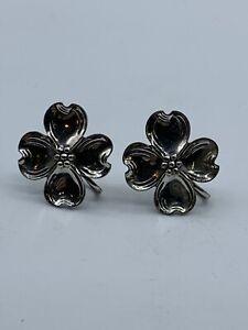 Sterling Silver Flower Screwback Earrings Vintage