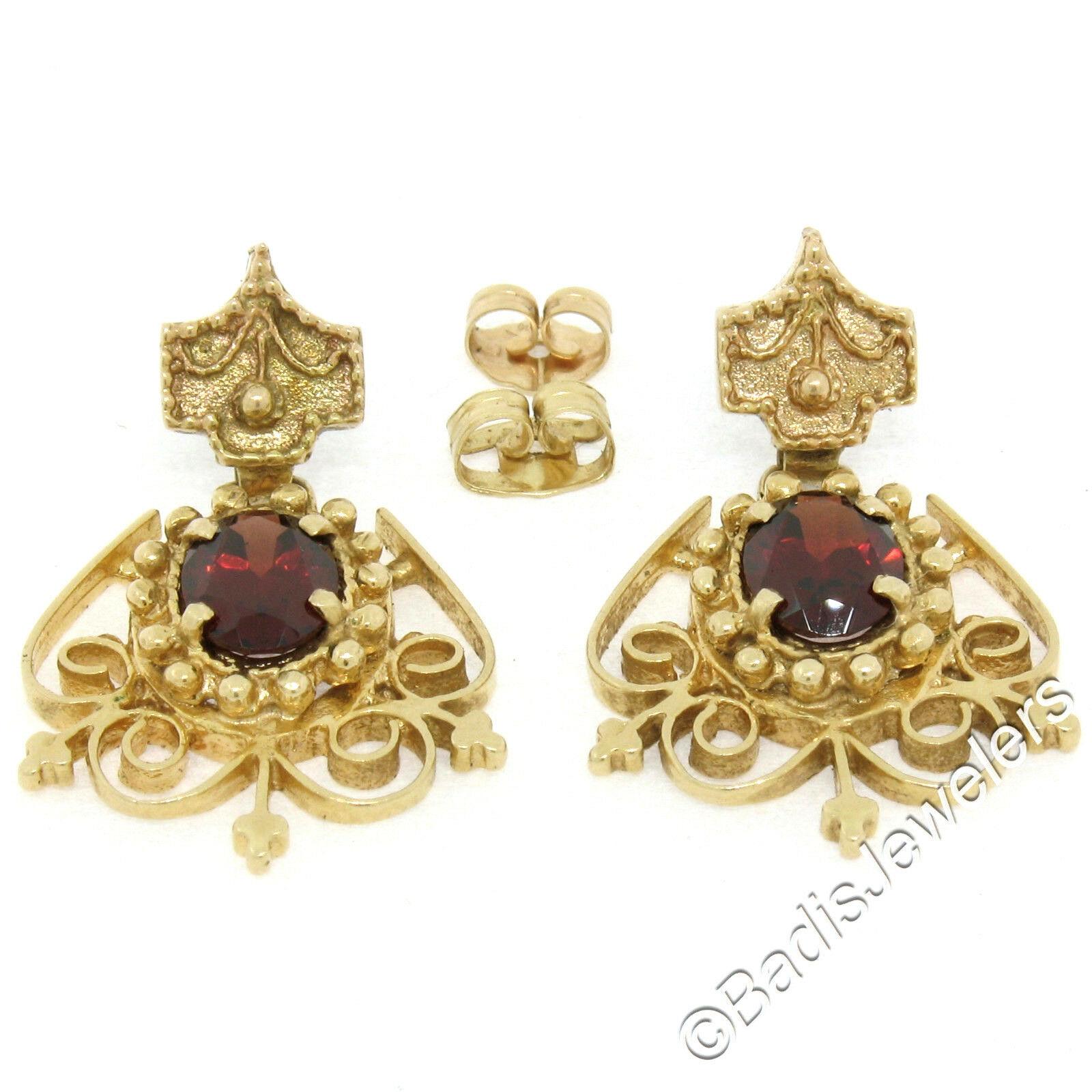 Vintage Victorian Revival 14K Yellow gold 2.8ct Oval Garnet Open Dangle Earrings