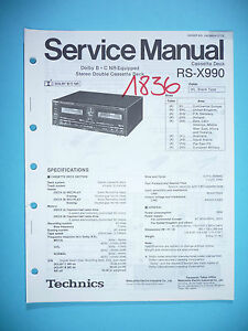 Tv, Video & Audio Praktisch Service Manual Für Technics Rs-x990 Cassette Deck,original