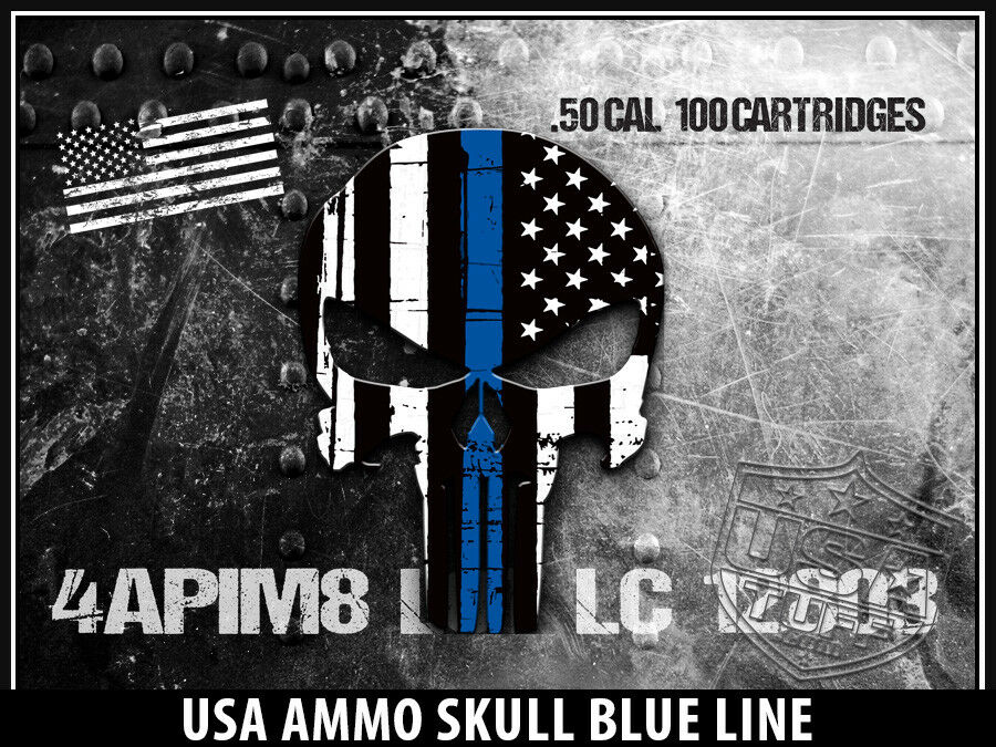 USATuff Custom Cooler Wrap Decal fits Grizzly 75qt FULL USA Blau Ammo Skull Blau USA Line 604763
