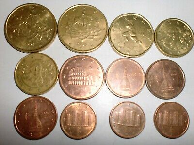 Italy 2006 set of 8 euro coins Dante 1 2 5 10 20 50 cents 1 2 euro Italia UNC