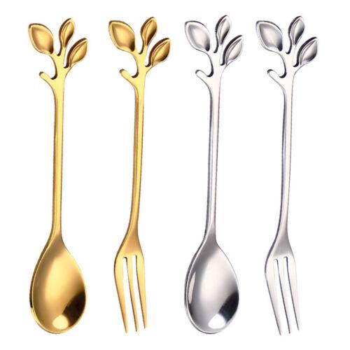 Stainless Steel Branch Leaf Handle Coffee Tea Spoon Dessert Fruits Fork Flatware
