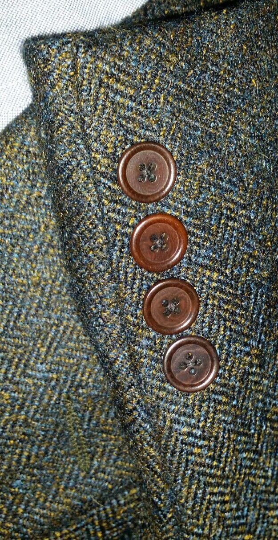 38R Atomico Arancione Blu Giacca Macchiolina Mohair Giacca Blu in Tweed Sport Peloso Harris 2347e3