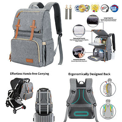 Diaper Bag Backpack  Large Baby Bag for Mom or Dad Travel Waterproof Grey Color