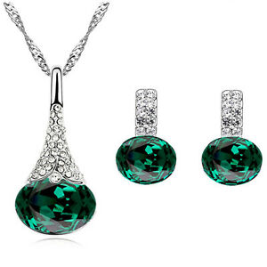 Crystal-Emerald-Green-Jewellery-Set-of-Stud-Earrings-and-Necklace-Pendant-S854