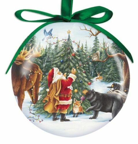 Santa Animals Ball Ornament New Christmas Cape Shore Moose Bear Fox Deer