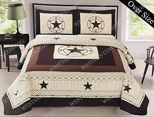 Texas Star Barbed Wire Western Style Quilt Bedspread Comforter Shams