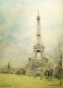 Art picture greeting card watercolor painting eiffel tower france image is loading art picture greeting card watercolor painting eiffel tower m4hsunfo