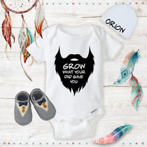 Details About Beard Funny Onesies Beanie Boy Shoes Baby Shower Gift Set Newborn New Dad Gifts