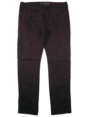 Pantaloni Jeans Uomo Jaggy Mcqueen Tg W 34 It 48 Bordeaux Cotone Gabardine Modellazione Duratura