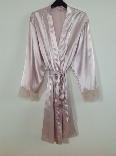 Womens Satin Dressing Gown//Robe Uk Sizes 8-24 Various Colours