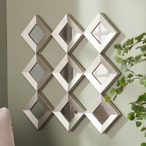 Large Wall Mirror Set Silver Diamond Squares Metal Art