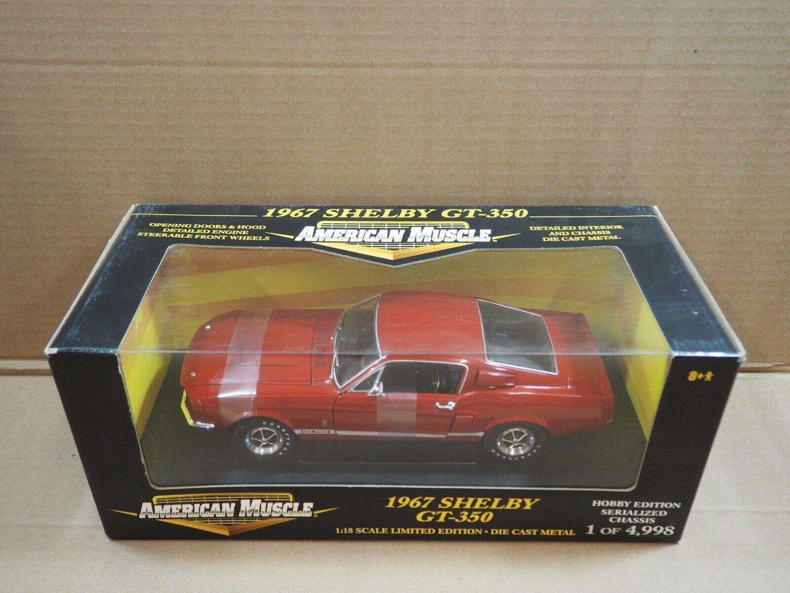 Ertl American Muscle 1967 Shelby GT-350 - Rojo Hobby Edition-edición limitada de 1 18 Nuevo En Caja