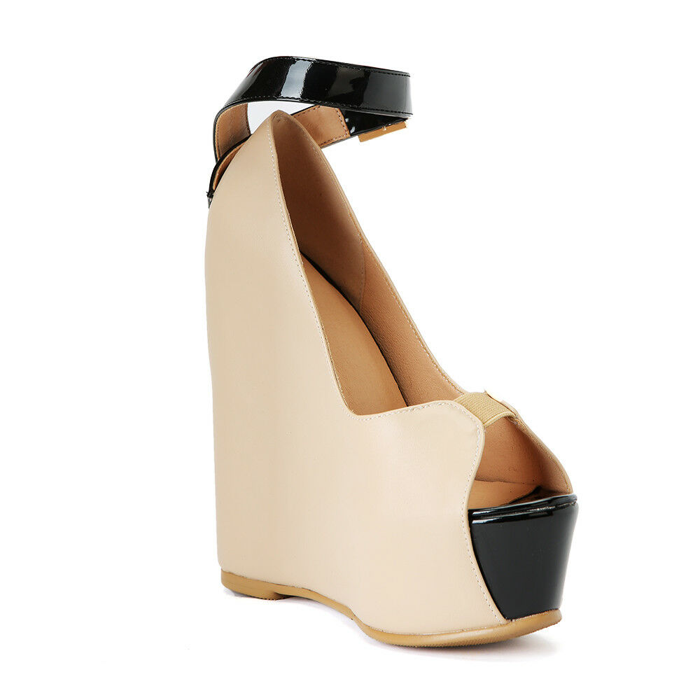 Donna 14cm Wedge High Buckle Heels Platform Peep Toe Sexy Buckle High Club Shoes Plus Size b1b0f9