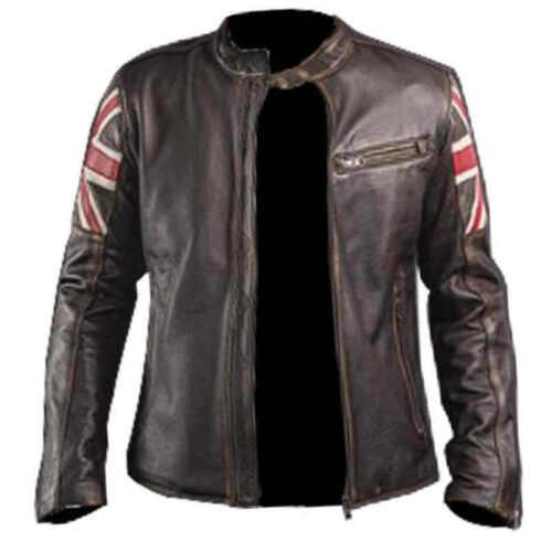Leather Mens Brown Distressed Vintage Jack Cafe Biker Union Jacket Racer 8qw8WrOU