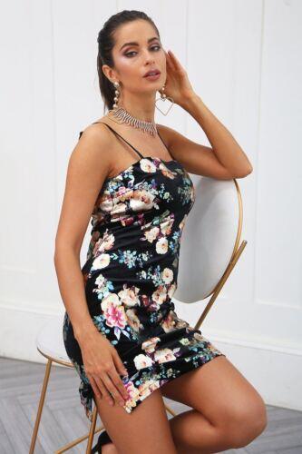 Women Velvet Floral Printed Sleeveless Side Split Bodycon Sundress