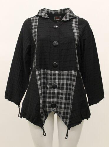 Plaid Jacket Prisa Sz 0 Women's amp; Nwt Hooded White Black Pocket Buttoned Ow68nOq