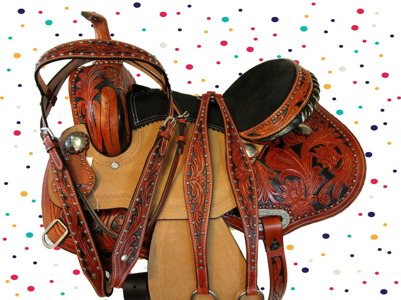 PREMIUM TOOLED PLEASURE TRAIL RODEO WESTERN SADDLE 15 16 BARREL TRAIL SHOW SET