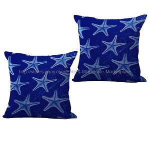 US SELLER 2pcs replacement patio cushion starfish beach coastal cushion cover