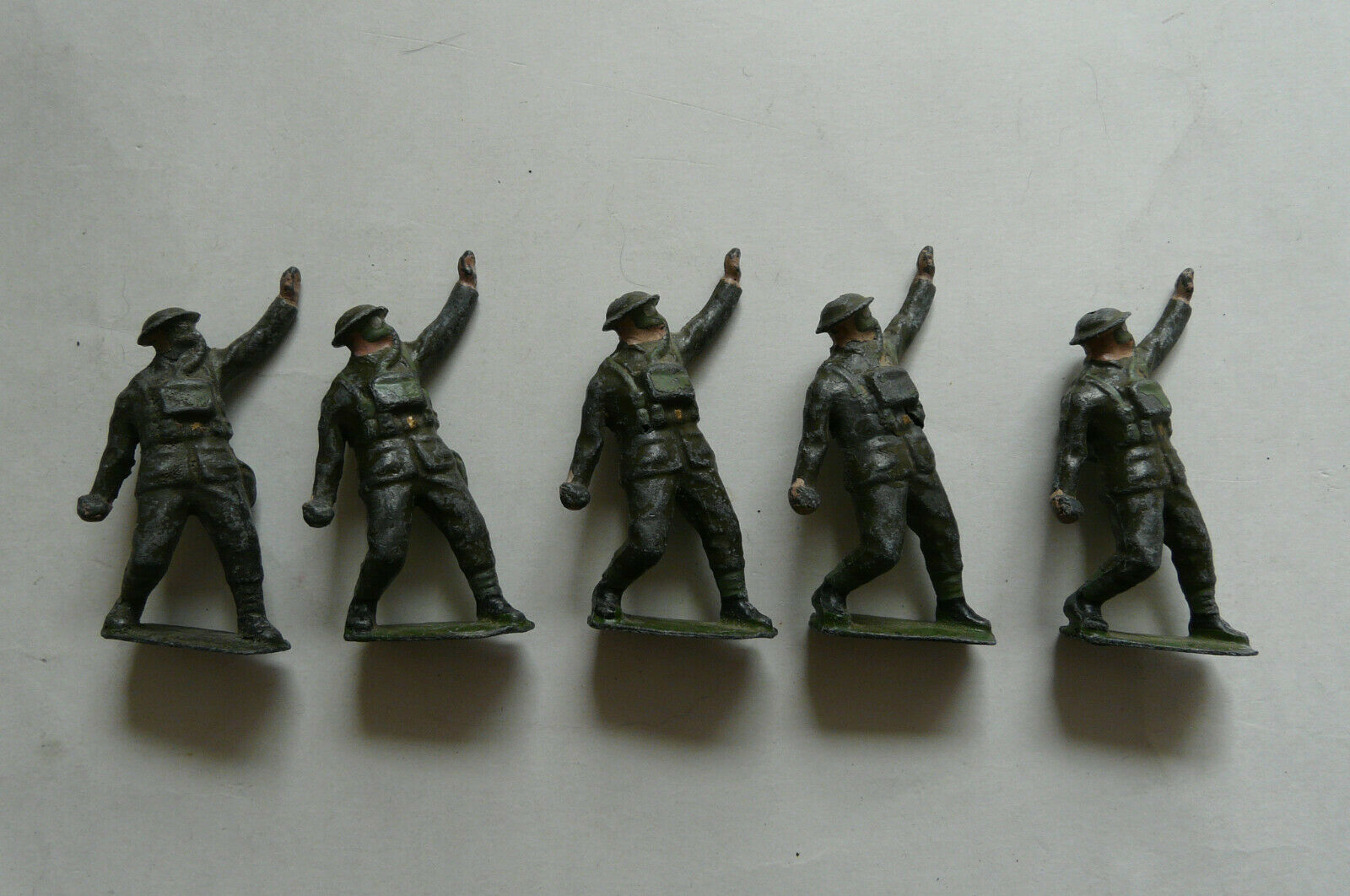 Vintage Britains Lead Soldiers in Gas Masks Throwing Grenade