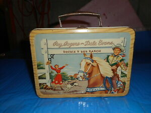 Vintage ROY ROGERS DOUBLE R RANCH metal LUNCH BOX & THERMOS 1950's era western